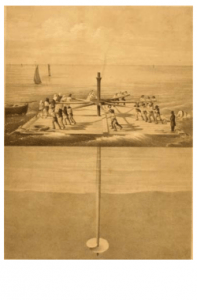 Lithograph depicting screw pile installation by hand in open water.